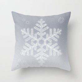 Typographic Snowflake Greetings - Silver Grey Throw Pillow