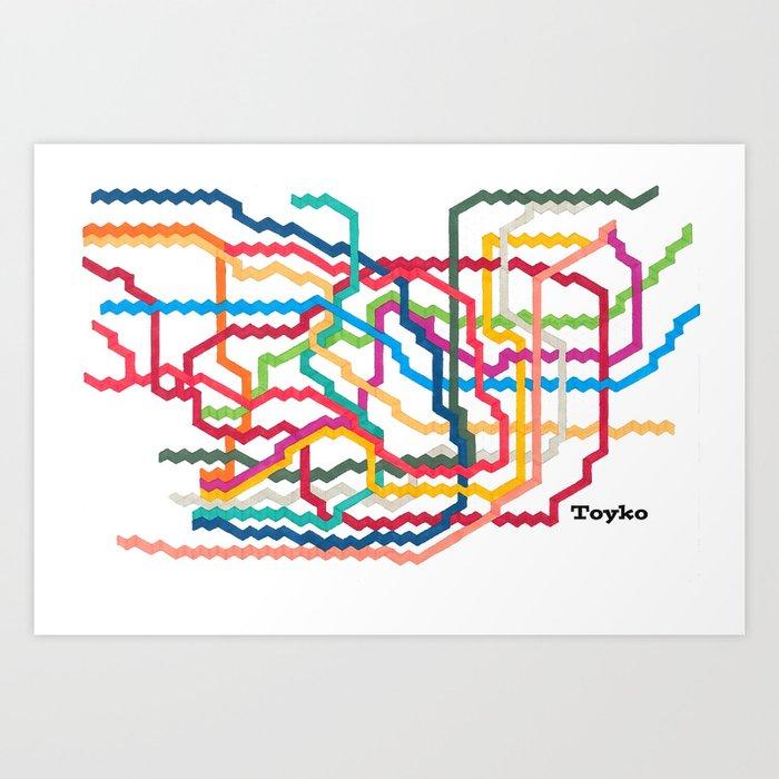 Tokyo Subway Map Framed.Tokyo Subway Map Art Print By Abstractgraphdesigns
