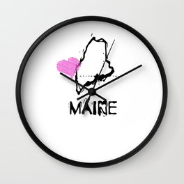 Love Maine State Sketch USA Art Design Wall Clock