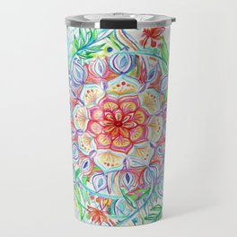 Messy Boho Floral in Rainbow Hues Travel Mug