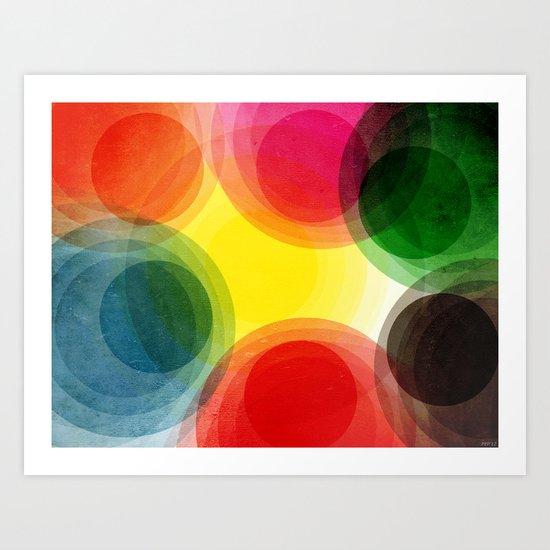 Colorful Retro Circles Art Print