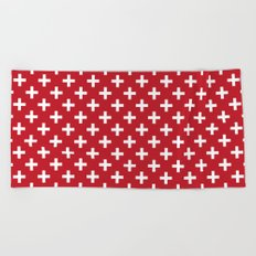 Criss Cross | Plus Sign | Red and White Beach Towel