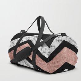 Modern rose gold black white geometric marble Duffle Bag