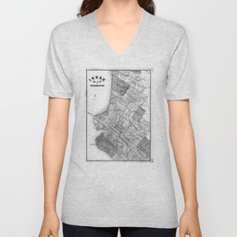 Vintage Map of Oakland California (1878) BW Unisex V-Neck