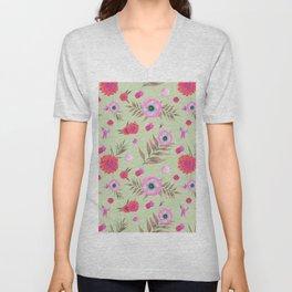 Modern pink lavender watercolor geometric floral Unisex V-Neck
