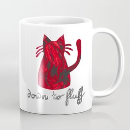 Down to Fluff Cute Cat Quote Red Abstract Print Coffee Mug