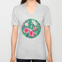 Classic Tropical Garden with Pink Flowers Unisex V-Neck