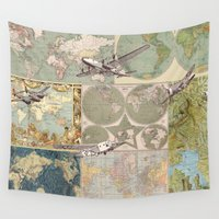 airplanes Wall Tapestries featuring Flight Patterns by Catherine Holcombe