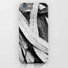 Fallen Eucalyptus Leaves Texture Black and White iPhone Case