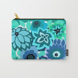 CAMBRIA, ART DECO FLORALS: TRENDY TURQUOISE Carry-All Pouch
