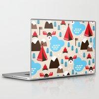 scandinavian Laptop & iPad Skins featuring Scandinavian retro moose pattern by Little Smilemakers Studio
