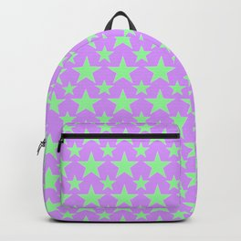 Green Star Pattern on Purple Backpack