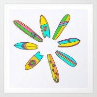 Retro Surfboard Flower Power Art Print