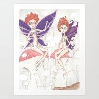 pixies Art Prints featuring Redhead Pixies by Jennifer D. S. Stedman