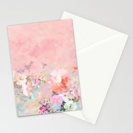 Modern blush watercolor ombre floral watercolor pattern Stationery Cards
