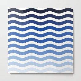 Ocean waves navy blue striped pattern, minimalist summer waves Metal Print