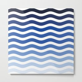 Minimalist sea of waves nautical decor, ocean waves, blue stripes Metal Print