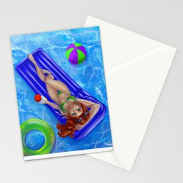 Redhead girl relaxing at the swimming pool Stationery Cards