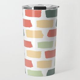 Hand Drawn Abstract Brick Wall Pattern - Red Green and Yellow Travel Mug