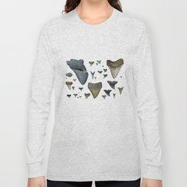 Fossil shark teeth watercolor Long Sleeve T-shirt