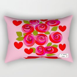 I Love You Rose Bouquet with Hearts Rectangular Pillow