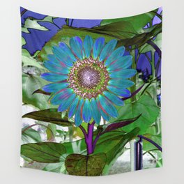 Pretty Blue Sunflower Wall Tapestry
