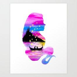 Rapunzel Double Exposure Art Print