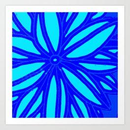 aqua blue bloom Art Print