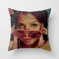 bianca green Throw Pillows featuring Bianca by Yuri Torres Bertazolli