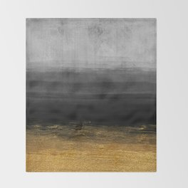 Black and Gold grunge stripes on modern grey concrete abstract background - Stripe -Striped Throw Blanket