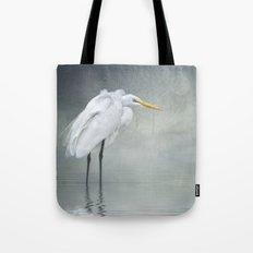 Egret in winter breeze Tote Bag