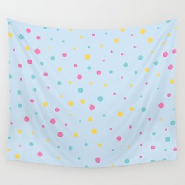 Multicolour Polka Dots on Blue Background Wall Tapestry