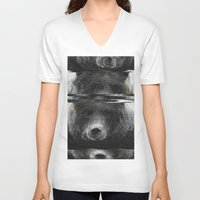 glitch V-neck T-shirts featuring Bear Glitch by Cedric S Touati
