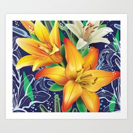 Bursting Lilies Art Print