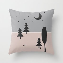 Forest at Night Throw Pillow