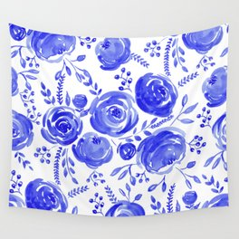Blue Roses Pattern Wall Tapestry