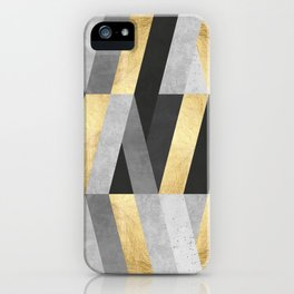 Gold and gray lines II iPhone Case