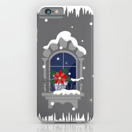 Christmas poinsettia on the window iPhone Case
