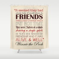 winnie the pooh Shower Curtains featuring Winnie the Pooh Friendship Quote - Tan & Red by Jaydot Creative