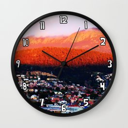 Dawn on Mt Wellington Wall Clock