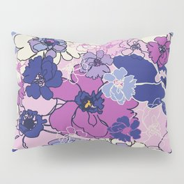 Red Violet and Navy Anemones Pillow Sham