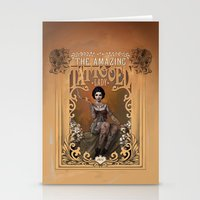 nouveau Stationery Cards featuring The Amazing Tattooed Lady by Rudy Faber