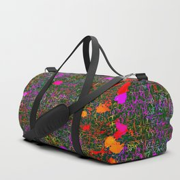 psychedelic abstract art texture background in purple red orange pink Duffle Bag