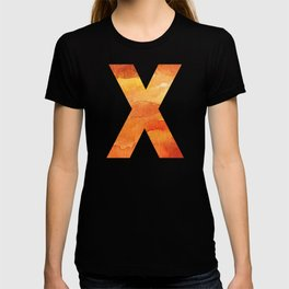 Fire Space Galaxy Initial Monogram Letter X T-shirt