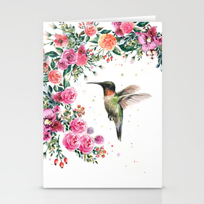 Hummingbird and flowers watercolor animals stationery cards by hummingbird and flowers watercolor animals stationery cards m4hsunfo
