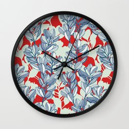 Leaf and Berry Sketch Pattern in Red and Blue Wall Clock