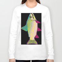 trout Long Sleeve T-shirts featuring Neon Rainbow Trout by Florian Rodarte