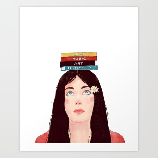 Book girl Art Print