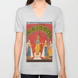 Krishna Fluting - 18th Century Classical Hindu Art Unisex V-Neck