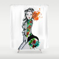 pinup Shower Curtains featuring Pinup Girl by helenacionart